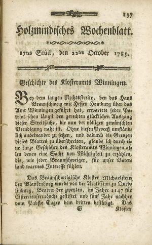 Holzmindisches Wochenblatt vom 22.10.1785
