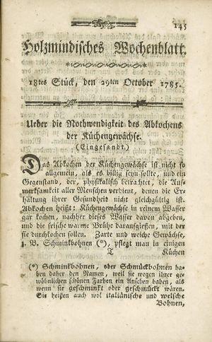 Holzmindisches Wochenblatt vom 29.10.1785