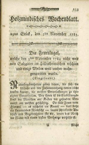 Holzmindisches Wochenblatt vom 05.11.1785