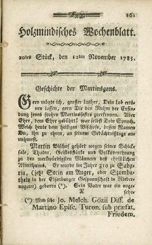 Holzmindisches Wochenblatt vom 12.11.1785