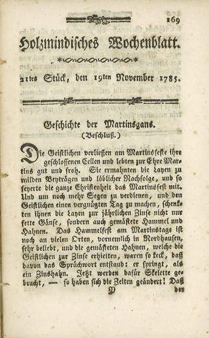 Holzmindisches Wochenblatt vom 19.11.1785