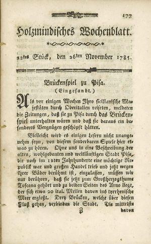 Holzmindisches Wochenblatt vom 26.11.1785