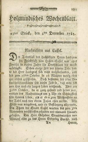 Holzmindisches Wochenblatt vom 03.12.1785