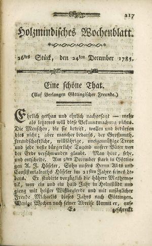 Holzmindisches Wochenblatt vom 24.12.1785