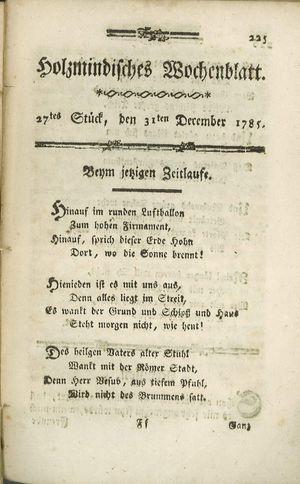 Holzmindisches Wochenblatt vom 31.12.1785