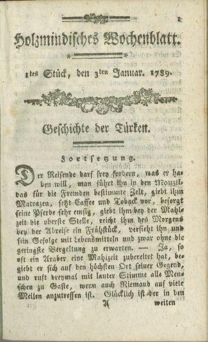 Holzmindisches Wochenblatt on Jan 3, 1789