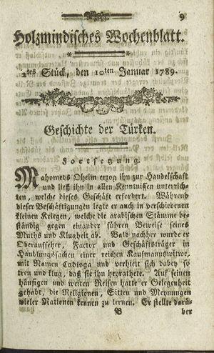 Holzmindisches Wochenblatt vom 10.01.1789