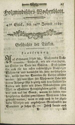 Holzmindisches Wochenblatt vom 24.01.1789