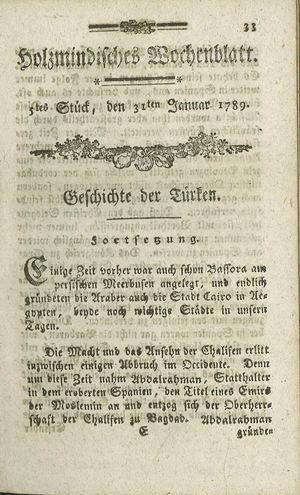 Holzmindisches Wochenblatt vom 31.01.1789