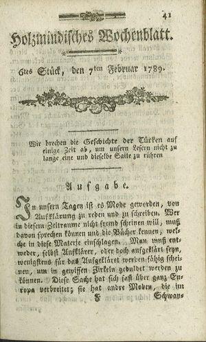 Holzmindisches Wochenblatt vom 07.02.1789