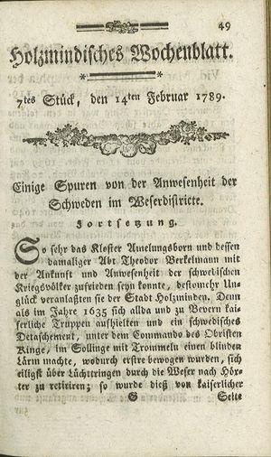 Holzmindisches Wochenblatt vom 14.02.1789