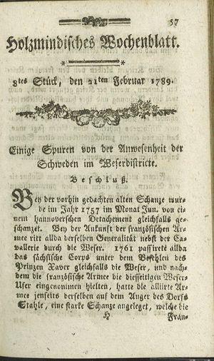 Holzmindisches Wochenblatt vom 21.02.1789