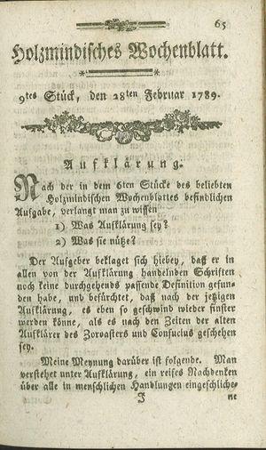 Holzmindisches Wochenblatt vom 28.02.1789