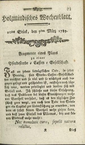 Holzmindisches Wochenblatt vom 07.03.1789