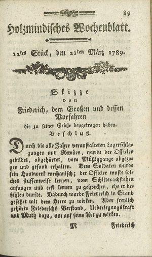 Holzmindisches Wochenblatt vom 21.03.1789