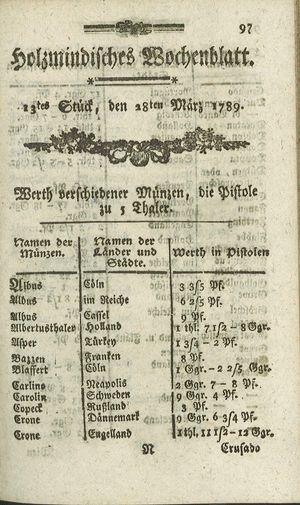 Holzmindisches Wochenblatt vom 28.03.1789