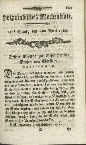 Holzmindisches Wochenblatt vom 04.04.1789