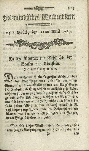Holzmindisches Wochenblatt vom 11.04.1789