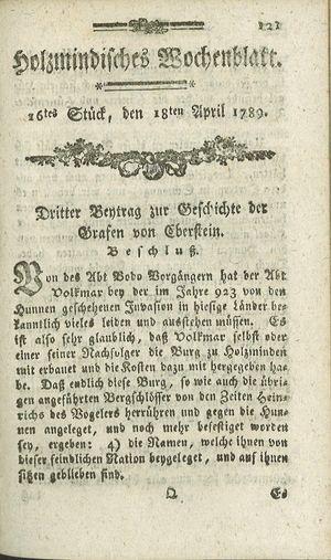 Holzmindisches Wochenblatt vom 18.04.1789