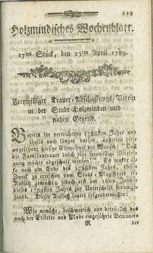Holzmindisches Wochenblatt vom 25.04.1789