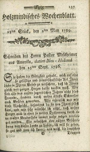 Holzmindisches Wochenblatt vom 02.05.1789
