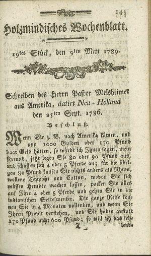 Holzmindisches Wochenblatt vom 09.05.1789