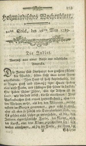 Holzmindisches Wochenblatt vom 16.05.1789