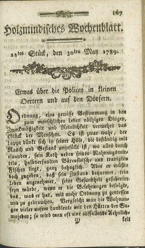 Holzmindisches Wochenblatt on May 30, 1789