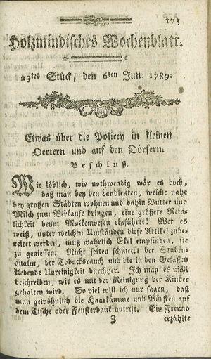 Holzmindisches Wochenblatt vom 06.06.1789