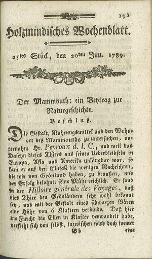 Holzmindisches Wochenblatt vom 20.06.1789