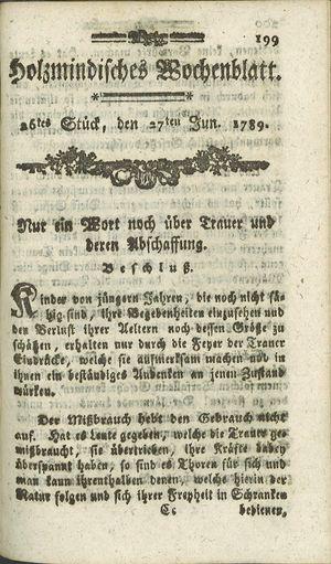 Holzmindisches Wochenblatt on Jun 27, 1789