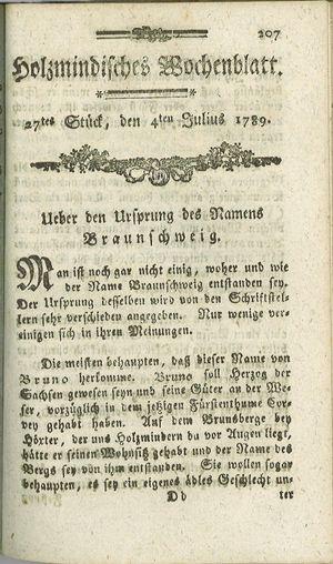 Holzmindisches Wochenblatt vom 04.07.1789