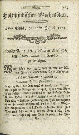 Holzmindisches Wochenblatt vom 11.07.1789
