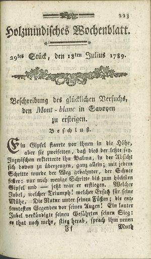 Holzmindisches Wochenblatt on Jul 18, 1789
