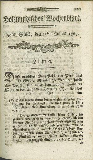 Holzmindisches Wochenblatt vom 25.07.1789