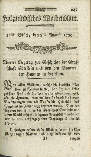 Holzmindisches Wochenblatt vom 08.08.1789