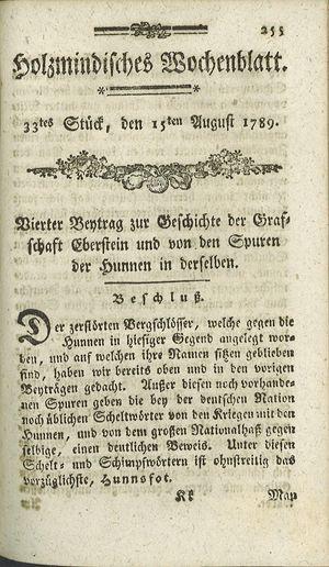 Holzmindisches Wochenblatt on Aug 15, 1789