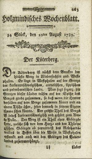 Holzmindisches Wochenblatt vom 22.08.1789