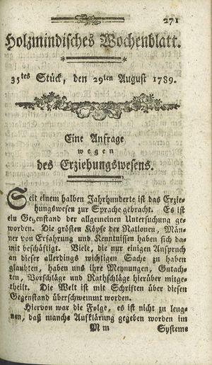 Holzmindisches Wochenblatt vom 29.08.1789