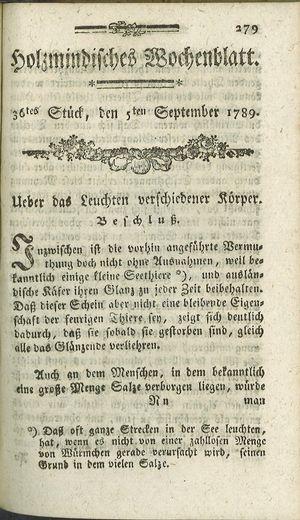 Holzmindisches Wochenblatt vom 05.09.1789