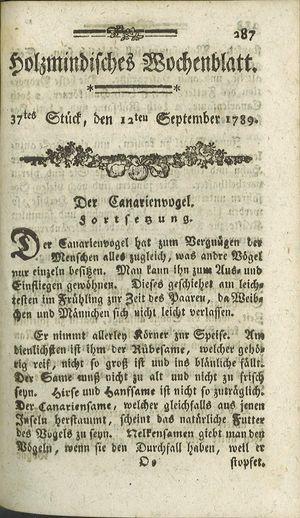 Holzmindisches Wochenblatt vom 12.09.1789
