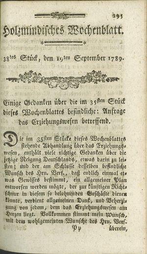Holzmindisches Wochenblatt vom 19.09.1789