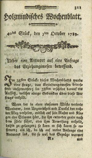 Holzmindisches Wochenblatt vom 03.10.1789
