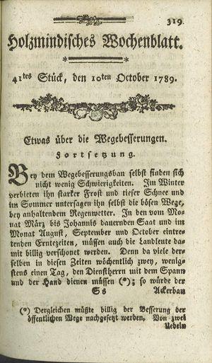 Holzmindisches Wochenblatt vom 10.10.1789