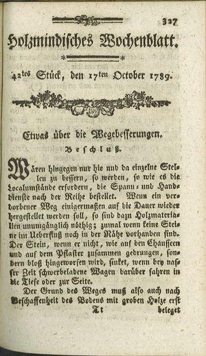 Holzmindisches Wochenblatt vom 17.10.1789