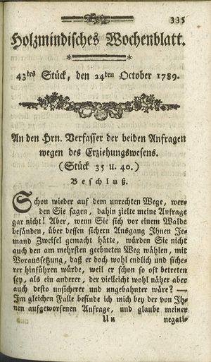 Holzmindisches Wochenblatt vom 24.10.1789