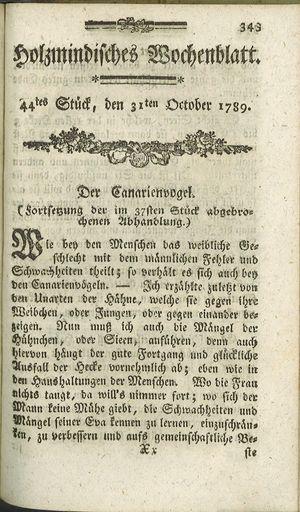 Holzmindisches Wochenblatt vom 31.10.1789