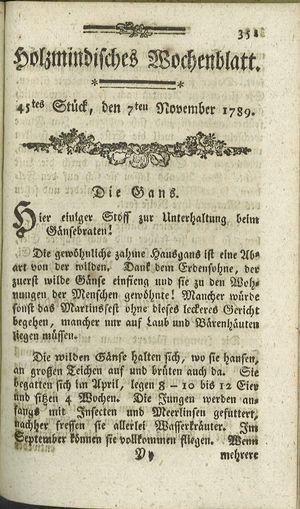 Holzmindisches Wochenblatt vom 07.11.1789