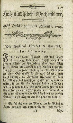 Holzmindisches Wochenblatt vom 14.11.1789