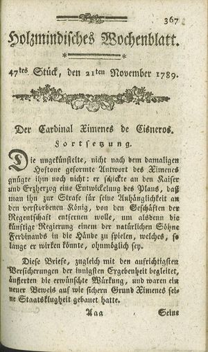 Holzmindisches Wochenblatt vom 21.11.1789